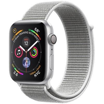 SmartWatch APPLE Watch Series 4 Koperta 44 mm z aluminium w kolorze srebrnym z opaską sportową w kolorze porcelanowym MU6C2WB/A